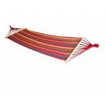 Multicolored Double Hammock With Wooden Bar