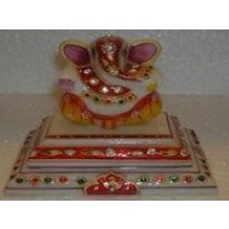 Multicolored Ganesha Idol With 2 Layered Base