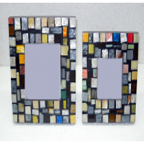 Multicolored mosaic photo frame 4 x 4 ""
