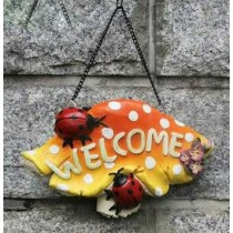 Mushroom Wall Hanging Welcome Message