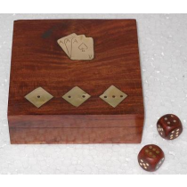 "Natural Card Box With Dice, 4.5"" X 4.5"" X 1.5"""