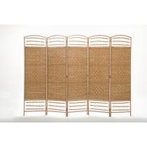 Natural Diamond Weave Fiber Folding 5 Panel Screen
