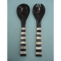 Natural Horn Service Spoon Cutlery Set of 2 Pcs  in 11 Inch