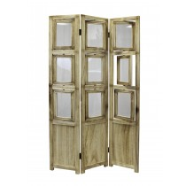 Natural Oiled Vintage Finish 3 Panel Folding Screen