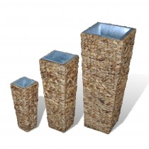 Natural Tall Rattan Planter With Zinc Liner Set of 3 Pcs