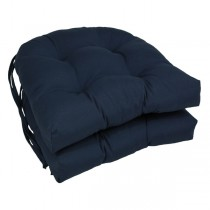 Navy Blue 16 Inch U Shaped Cushion With Ties