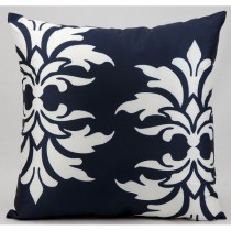 Navy Double Damask Pattern Cushion