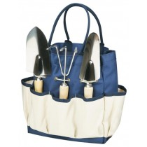 Navy With Beige Garden Tools Tote Set