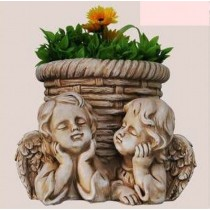 New Two Angel With Garden Planter Sculpture