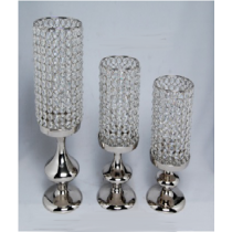 Nickle Plated Candle Holder With Glass 16.5 cm