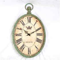 Old Style Shabby Green Metal Wall Clock