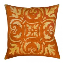 Orange 16 Inch Polyester Square Cushion