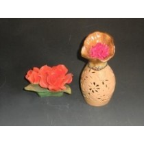 Orange Ceramic Hand Carving Vase Style Oil Burner