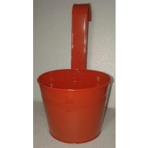 Orange 13 Inch Round Metal Pot With Handle