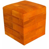 Orange Cube Leather Pouf