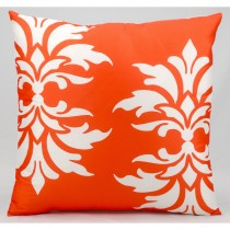 Orange Double Damask Pattern Cushion