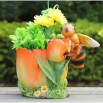 Orange Flower Planter with Bee Sculpture