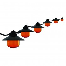 Orange Globes With Black Shaded String Light Set