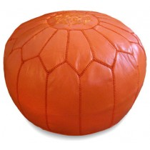Orange Round Floor Pouf