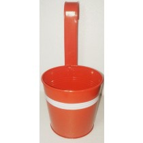 Orange Round 13 Inch Metal Pot With Handle