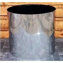 Silver Finish Cylinder Shaped Metal Planter