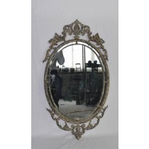 Oval Shabby Chic Hand Curved Metal Wall Mirror