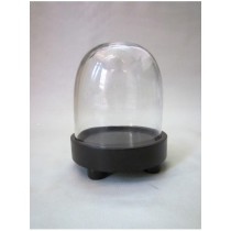 Oval Shaped Glass Cover With MDF Base Candle Holder