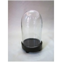 Oval Shaped Glass Cover With MDF Base Candle Holder H 8 inch