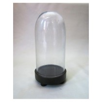 Oval Shaped Glass Cover With MDF Base Candle Holder H 9.5 inch