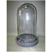 Oval Shaped Glass Cover With Grey MDF Base Candle Holder