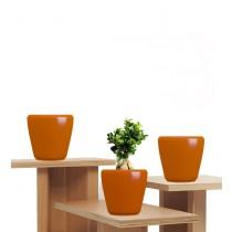 Orange Polystone Round Planters Set of 3 Pcs