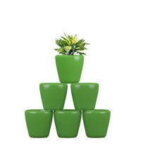 Pack of 6 Cylindrical Round Green Planter