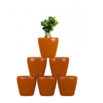 Pack of 6 Cylindrical Round Orange Planter