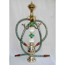 Pair Hose Decorative Green & White Brass Hookah