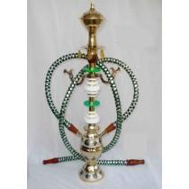 Pair Hose Decorative Green & White Brass Hookah