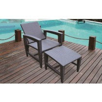 PE Rattan Adjustable Lounger With Ottoman(Full Set)
