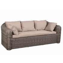 PE Rattan Brown 3-Seater Sofa
