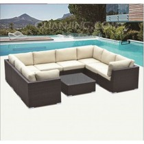 PE Rattan Brown Modern Corner Sofa Set