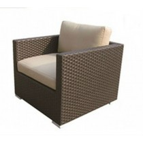 PE Rattan Dark Brown Single Sofa with Arm