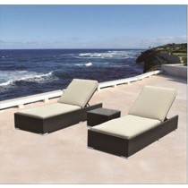 PE Rattan Modern Lounge Bed With Table