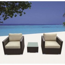 PE Rattan Single Sofa With Arm & Table