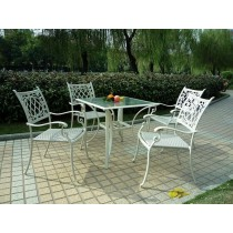 PE Rattan &Tempered Glass With Umbrella Hole Table & Chair Set