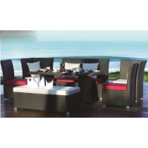 PE Rattan Wicker Black Armless Sofa Set