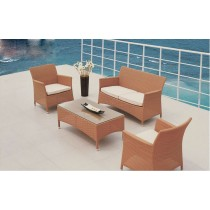 Peach Wicker PE Rattan Classic Sofa Set