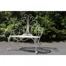Peacock Feather Design Metal Garden Bench