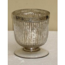 Pedestal Cup Style Mercury Glass Candle Holder