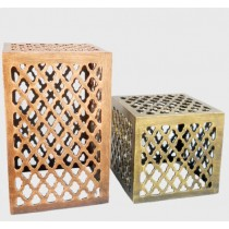 Perforated Square Stool, 12 Inches