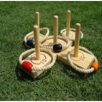 Pine Wooden Quoits Outdoor Games Set With 5 Rings