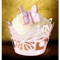 Paper Pink Butterfly Cup Cake Wrapper