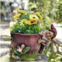 Pink Floral Designer Flower Pot With Gnome
